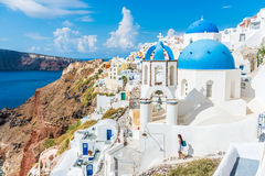 Destination de touristes Oia de voyage de l'Europe Santorini Photo stock