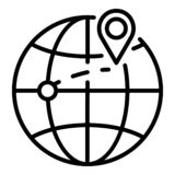 Destination of export goods icon, outline style stock illustration