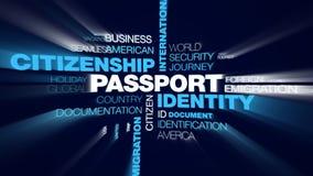 Destination för invandring för avvikelse för egenar för flygplats för internationell gräns för passidentitetsmedborgarskap animer royaltyfri illustrationer