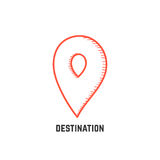 Destination with hand drawn map pin Royalty Free Stock Photos
