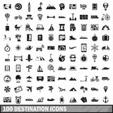 100 destination icons set, simple style. 100 destination icons set in simple style for any design vector illustration Stock Image