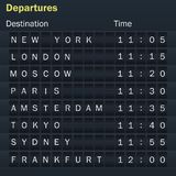Flights scoreboard mockup with cities. Destination information display board. Display schedules with cities. Vector illustration Royalty Free Stock Photo