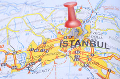 Destination Istanbul on the map of Turkey. Push pin pointing Istanbul on the map of Turkey stock photo