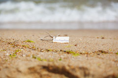 Destination Label at the Beach, Nautical Background Royalty Free Stock Photo
