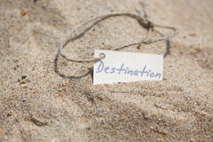 Destination Label at the Beach, Nautical Background Royalty Free Stock Image