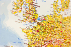 Destination: London. Detail of map with London in focus and marked by a map pin Royalty Free Stock Images