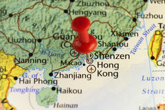 Destination map Hong Kong China. Copy space available Stock Photography