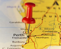 Destination map Perth Australia Stock Image