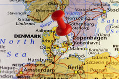 Destination map, red pin on Copenhagen. Copy space available royalty free illustration