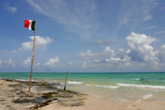 Destination Mexico. A mexican flag flaps in the wind, srtung up on the beach with driftwood Stock Photos