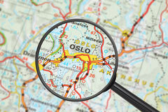 Destination - Oslo (with magnifying glass). Tourist conceptual image: Destination - Oslo (with magnifying glass Royalty Free Stock Photography