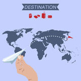 Destination paper plane on world map Royalty Free Stock Photos
