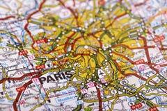 Destination: Paris. Paris Map Detail; selective focus Stock Photo