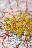 Destination: Paris. Paris Map Detail; selective focus Royalty Free Stock Images