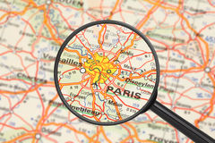 Destination - Paris (with magnifying glass). Tourist conceptual image: Destination - Paris (with magnifying glass Stock Photography