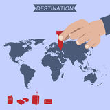 Destination pin on world map Stock Image