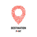 Destination point with pin from dots Royalty Free Stock Photos