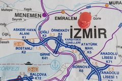 Destination port on map of turkey country. Close up destination port on map of turkey country royalty free stock photos