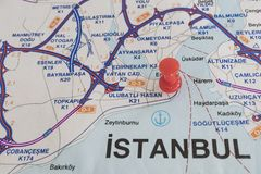 Destination port on map of turkey country. Close up destination port on map of turkey country royalty free stock image