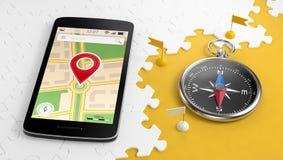 Destination pour un voyage par l'intermédiaire de mobile Photos stock
