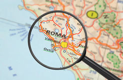 Destination - Roma (with magnifying glass) Royalty Free Stock Image