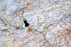 Destination: Sibiu, Romania. Map with black pin pointing at Sibiu, a historic and beautiful city in the center of Romania Stock Images