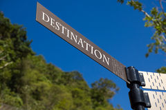 Destination Sign. Blue sky day road sign with word destination Royalty Free Stock Images