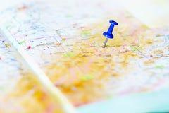 Destination sur la carte Photos libres de droits