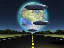 Destination. Terraformed moon seen from earth. Flying saucers over the highway. Some elements image credit NASA Stock Image