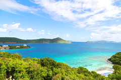 Destination tropicale à la baie agréable de point, St Thomas Island Images stock