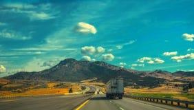 Destination. A truck at I-5 following its destination Stock Images