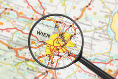 Destination - Vienna (with magnifying glass). Tourist conceptual image: Destination - Vienna (with magnifying glass Stock Photography