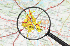 Destination - Warsaw (with magnifying glass) Stock Photography