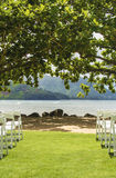 Destination Wedding Aisle. Looking down the aisle of empty seats at the scene of an upcoming destination wedding at Hanalei Bay in Kauai Royalty Free Stock Image