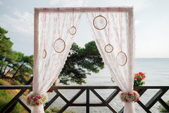 Destination wedding arch with sea view royalty free stock photos