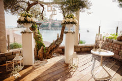 Destination wedding ceremony arch Stock Photography