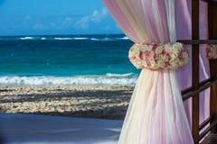 Destination wedding at tropical resort. Destination wedding flowers and curtains at tropical resort Stock Photography