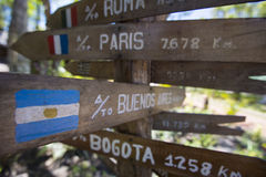 Destination Wooden sign arrows, venezuela. Multi destination Wooden sign arrows in Canaima National Parkk, Venezuela 2015 Stock Photos