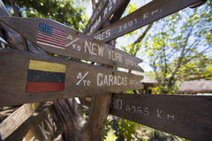 Destination Wooden sign arrows, venezuela. Multi destination Wooden sign arrows in Canaima National Parkk, Venezuela 2015 Royalty Free Stock Photography