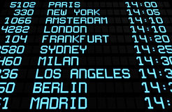 Destinations d'International d'affichage de panneau d'aéroport Photos stock