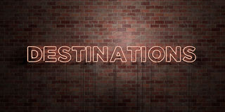DESTINATIONS - fluorescent Neon tube Sign on brickwork - Front view - 3D rendered royalty free stock picture Royalty Free Stock Photography