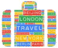 Destinations globales de noms de villes de voyage Photo stock