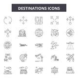 Destinations line icons, signs, vector set, outline illustration concept. Destinations line icons, signs, vector set, outline concept illustration vector illustration