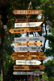 Destinations sign. Hand made wooden sign with destinations to world largest cities Royalty Free Stock Image