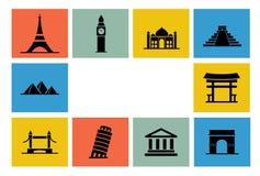 Destinationssymbolsuppsättning royaltyfri illustrationer