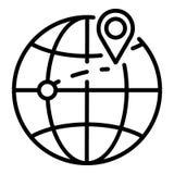Destinazione dell'icona delle merci dell'esportazione, stile del profilo illustrazione di stock