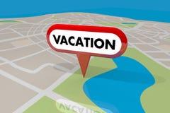 Destinazione 3 di Pin Holiday Spot Travel Trip della mappa di posizione di vacanza illustrazione di stock