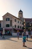 Destinazione di vacanze estive di Vodice Croazia durante il Sunny Dusk Aug Immagine Stock