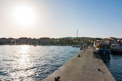 Destinazione di vacanze estive di Vodice Croazia durante il Sunny Dusk Aug Fotografia Stock