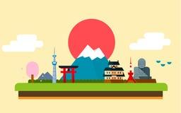 Destinazione di viaggio di progettazione delle icone del Giappone Immagini Stock Libere da Diritti